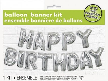 Foil Silver Happy Birthday Balloon Letter Banner Kit