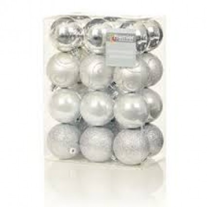 60mm Tree Baubles - pk24 - Silver