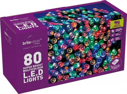 LED Twinkle Lights - Multicolour - 80 bulbs