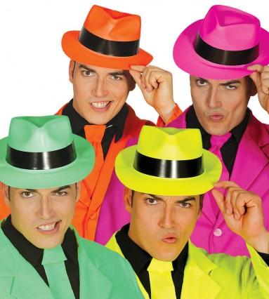 Asstd Neon Colour Gangster Hats