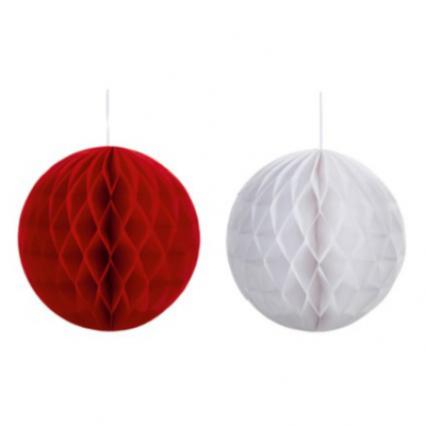 Red/White Honeycomb Balls 25cm