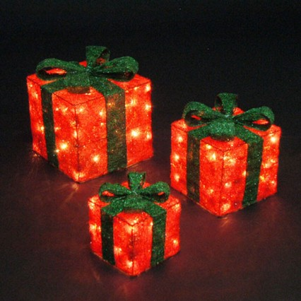 3 Light Up Parcels - Red with Green Bow