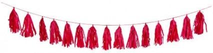 Red Tissue Tassel Garland 9ft