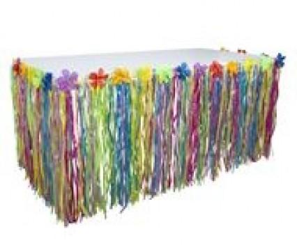 Grass Flowered Table Skirting - Multi Colour