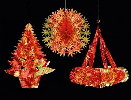 Hanging Foil Shapes - Red/Gold 3 assorted