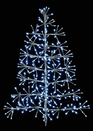 Silver Tree Starburst (60cm) - 44 Warm White LEDs