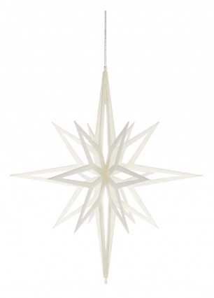 3D White Glitter Star 40cm