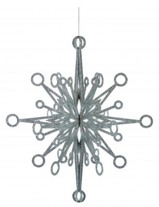 3D Silver Glitter Snowflake 60cm