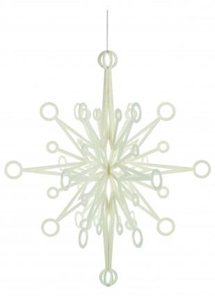 3D White Glitter Snowflake 60cm