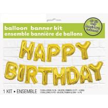 Foil Gold Happy Birthday Balloon Letter Banner Kit