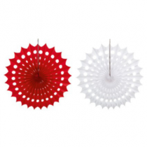 Red/White Honeycomb Fan 40cm Pk2