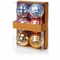 80mm Multi Finish Baubles - Champagne Rose