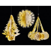 Hanging Foil Shapes - Gold/Ivory 3 assorted
