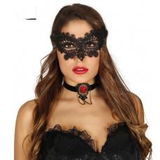 Black Embroidered Eye Mask