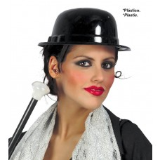Black Plastic Bowler Hat