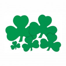 "Printed Shamrock Cut Outs 16"" Pk4"