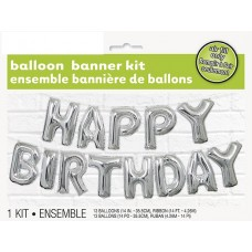 Foil Silver Happy Birthday Balloon Letter Banner Kit