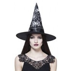 Black Adult Witches Hat with White Web Design