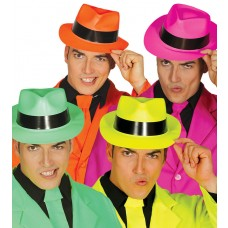 Asstd Neon Colour Gangster Hats