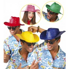 Neon Colour Straw Hats (Pk10)