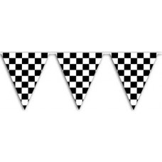 Pennant Bunting - 12ft - Black & White Chequered