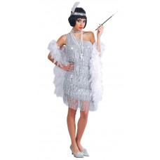 Silver Charleston Flapper Dress