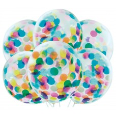 "12"" Confetti Filled Clear Latex Balloons"