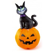 Inflatable Black Cat on Pumpkin