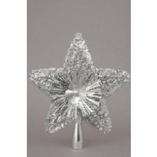 Glitter Tree Top Star - Silver 8""