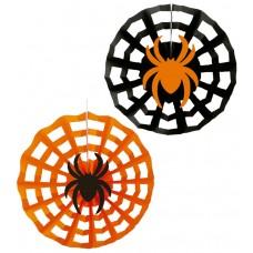 Spider Web Paper Wall Fans - Black/Orange