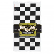 Plastic Tablecover - Black & White Chequered