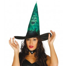 Witches Hat - Black with Green Skull