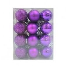 60mm Tree Baubles - pk24 - Purple