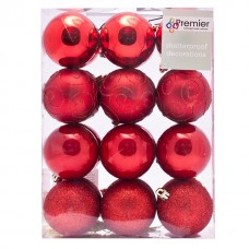 60mm Tree Baubles - pk24 - Red