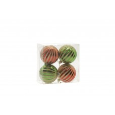 80mm Red & Green Striped Baubles