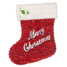Large Tinsel Stocking Wall Plaque