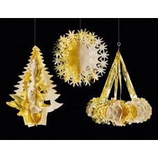 Hanging Foil Shapes - Gold/Ivory 3 assorted