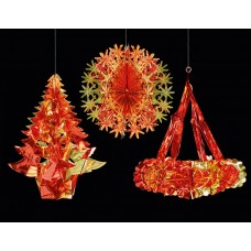 Hanging Foil Shapes - Red/Gold 3 assorted