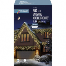 480 LED Bulb Snowing Icicle Lights - White