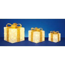 3 Light Up Parcels - Cream with Gold Bow